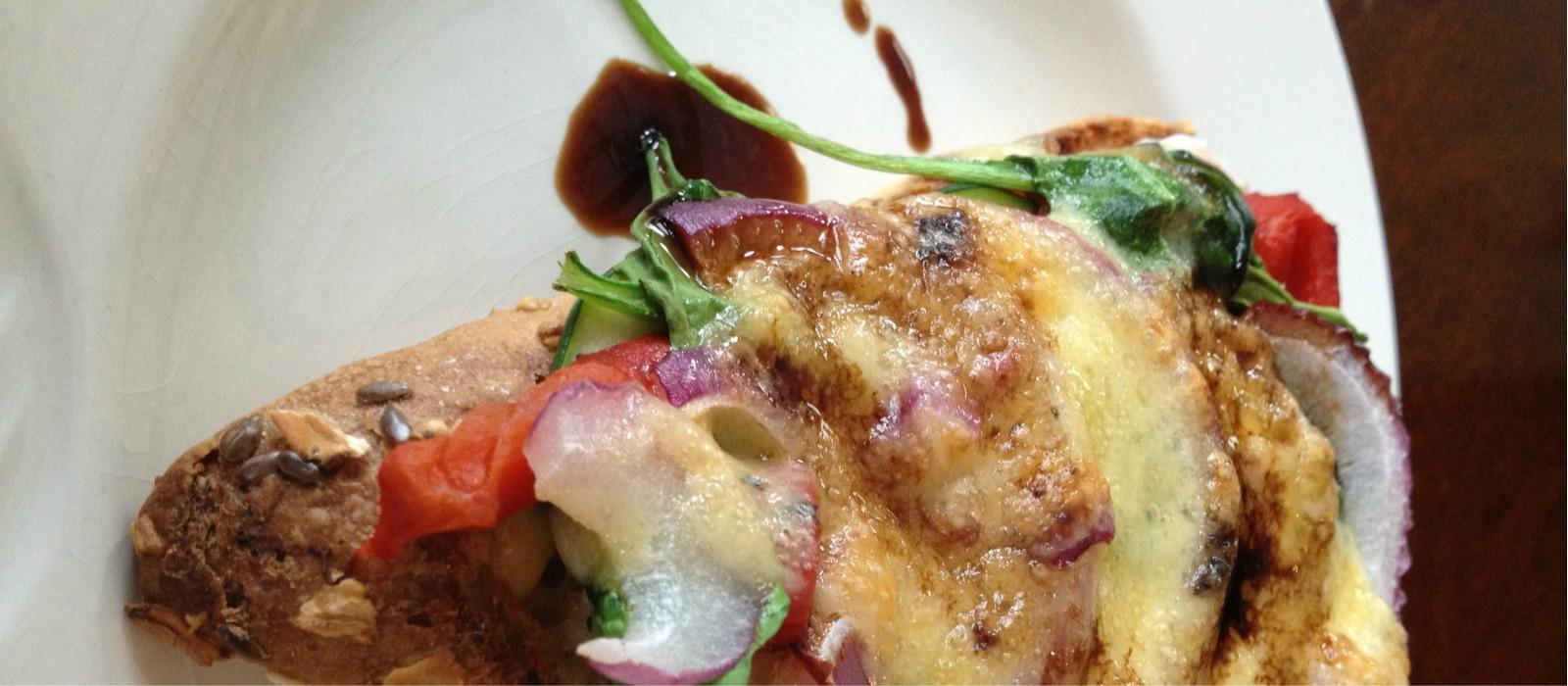 Open Face Italian Chicken Sandwich on Whole Grain Artisan Bread