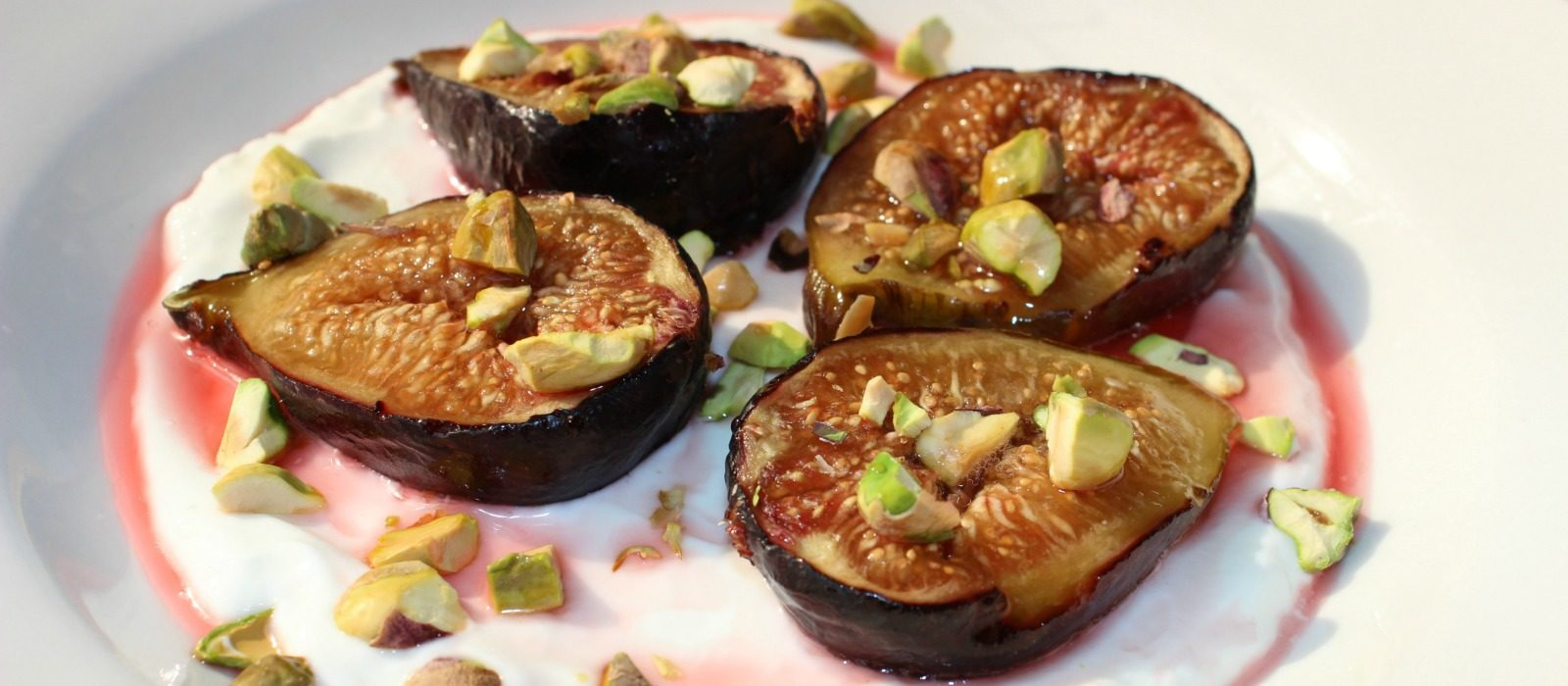 Roasted Fig and Pistachio Topped Greek Yogurt