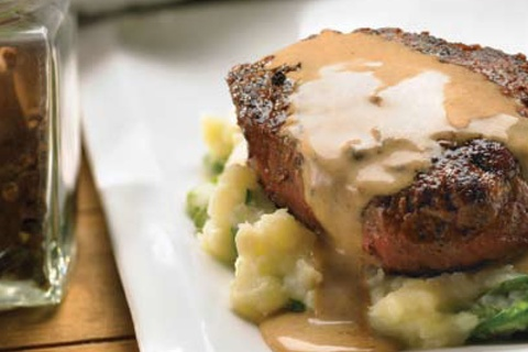 Peppered Steak with Garlic Mashed Potatoes