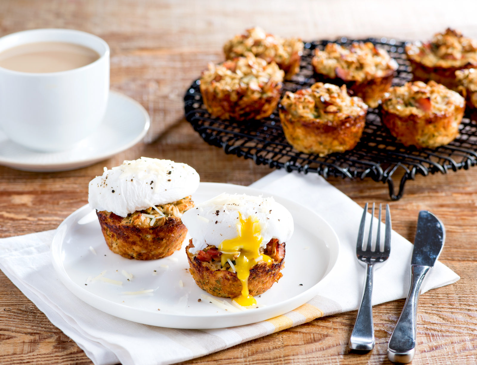 Savoury Oatmeal Breakfast Cups with Poached Eggs