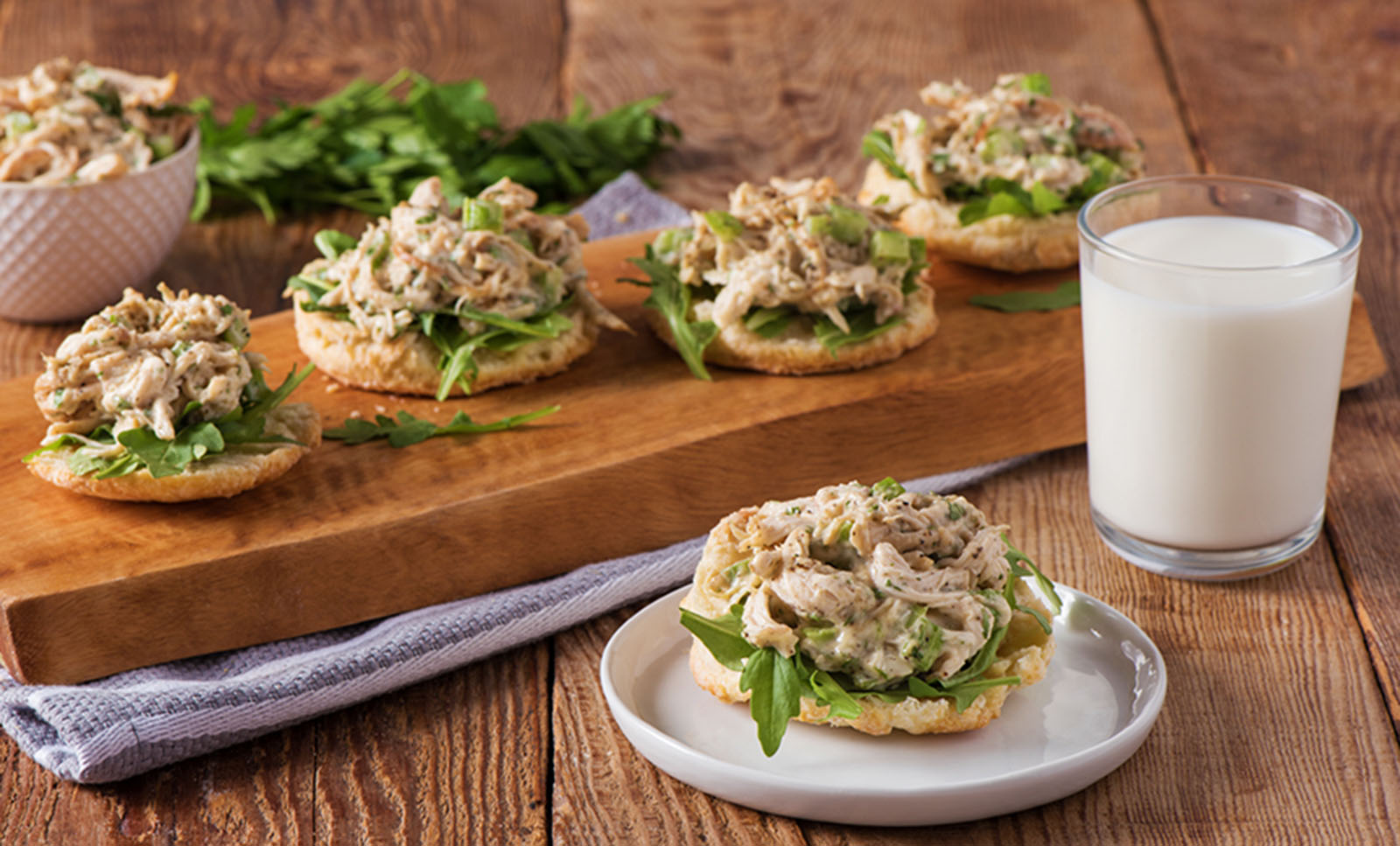 Open-Face Kefir Biscuit and Chicken Salad Sandwich