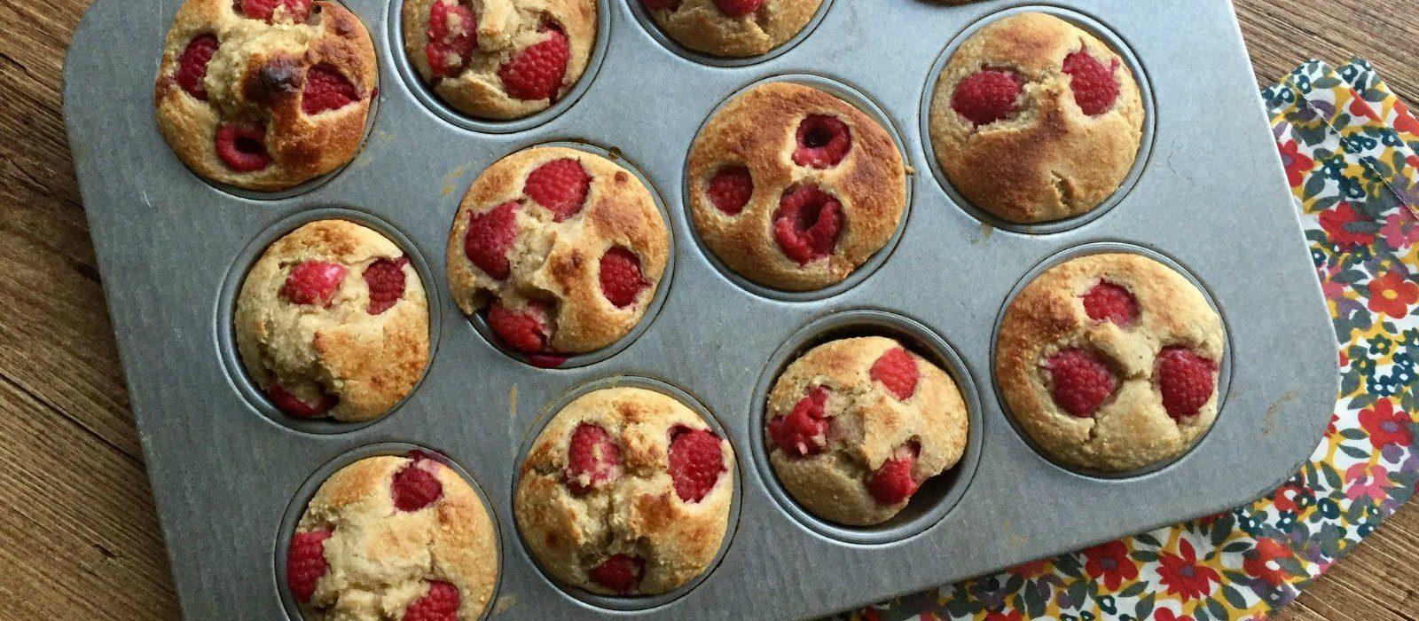 Flourless Raspberry Greek Yogurt Muffins