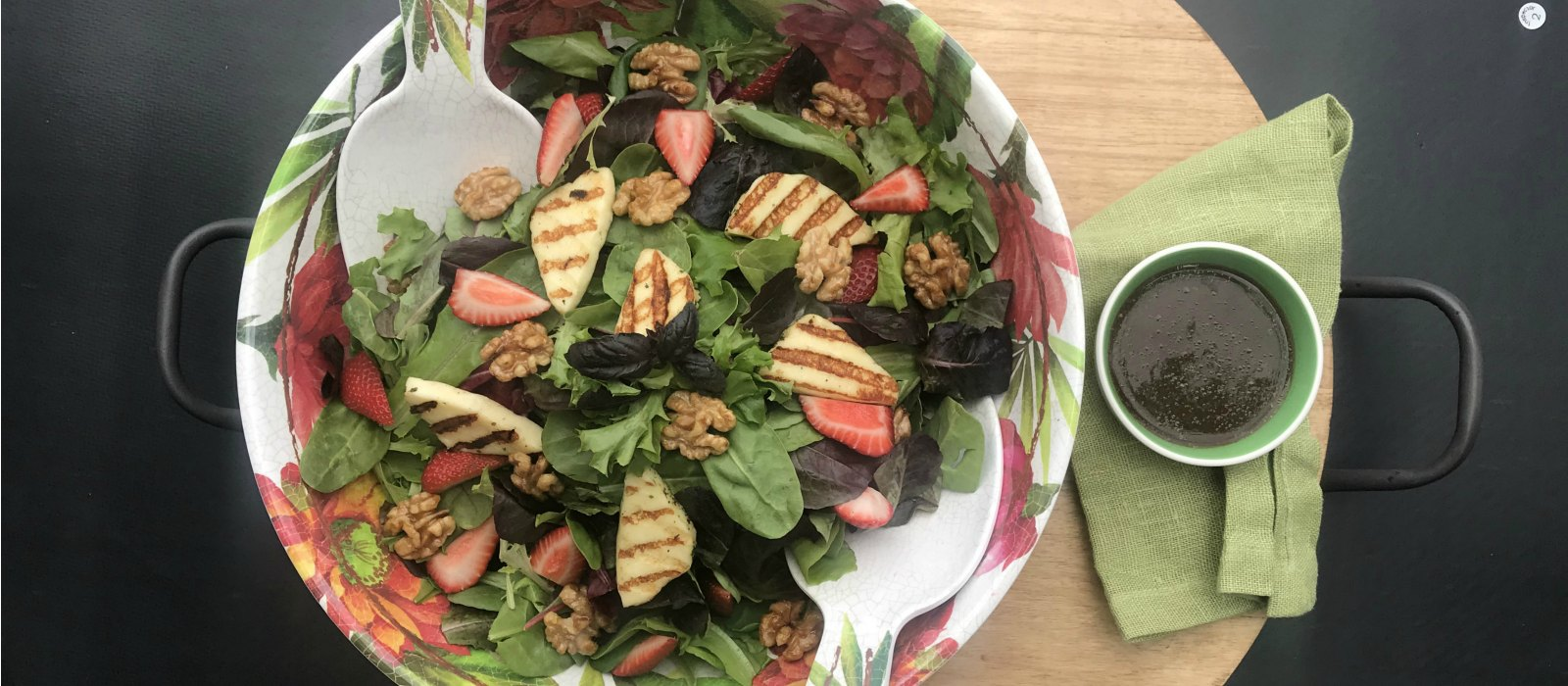 Grilled Halloumi & Strawberry Salad