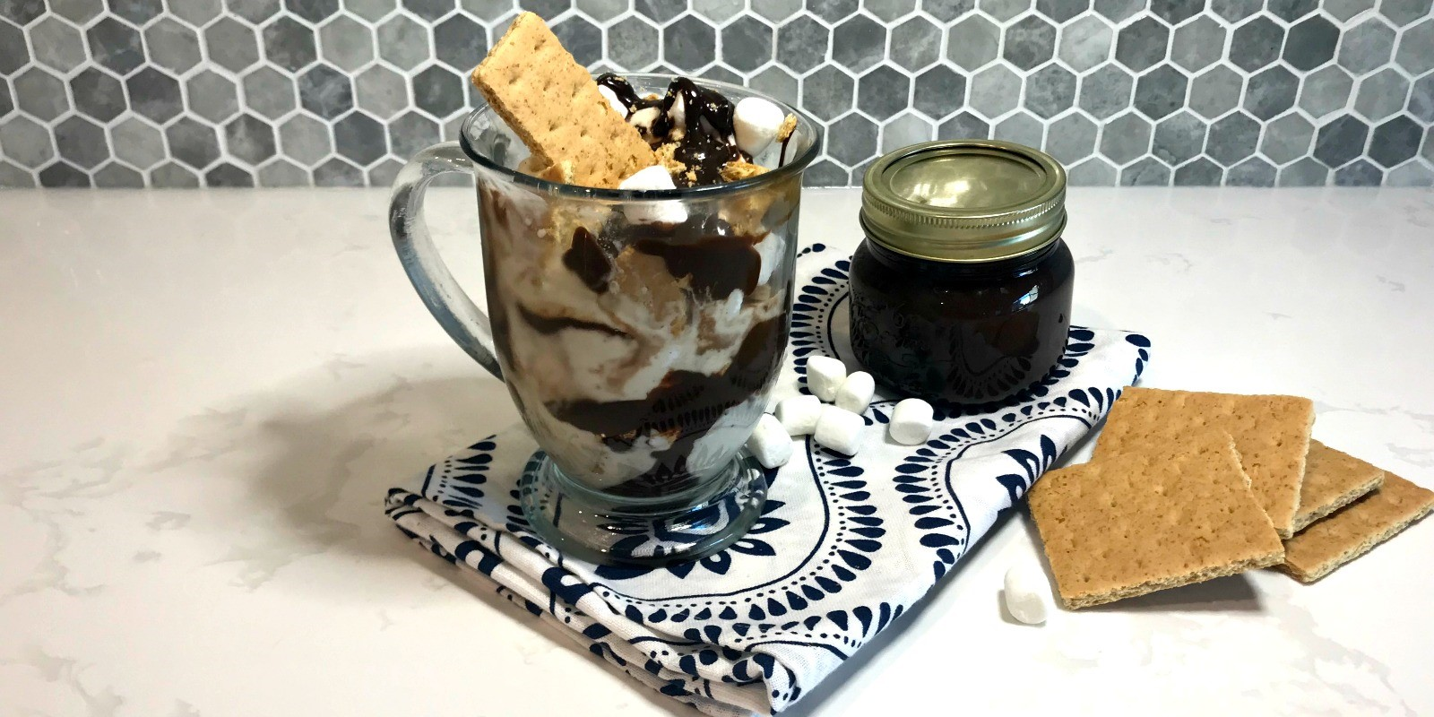 Smore's Sundae with Hot Chocolate Fudge Sauce